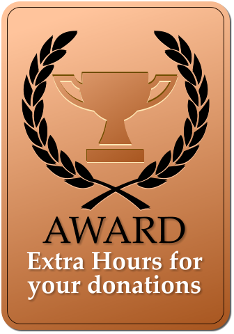 AWARD  Extra Hours for your donations